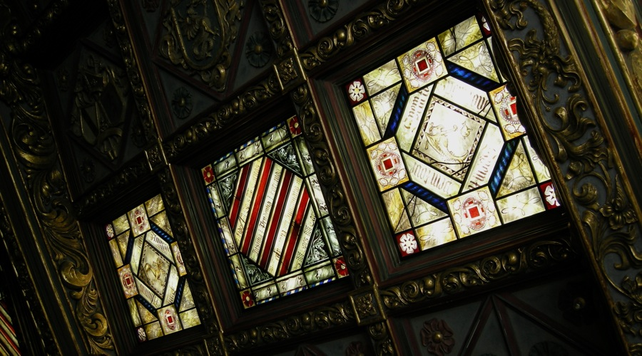 Stained glass skylights by David Williams & Stephen Byrne of Williams & Byrne the glass painters