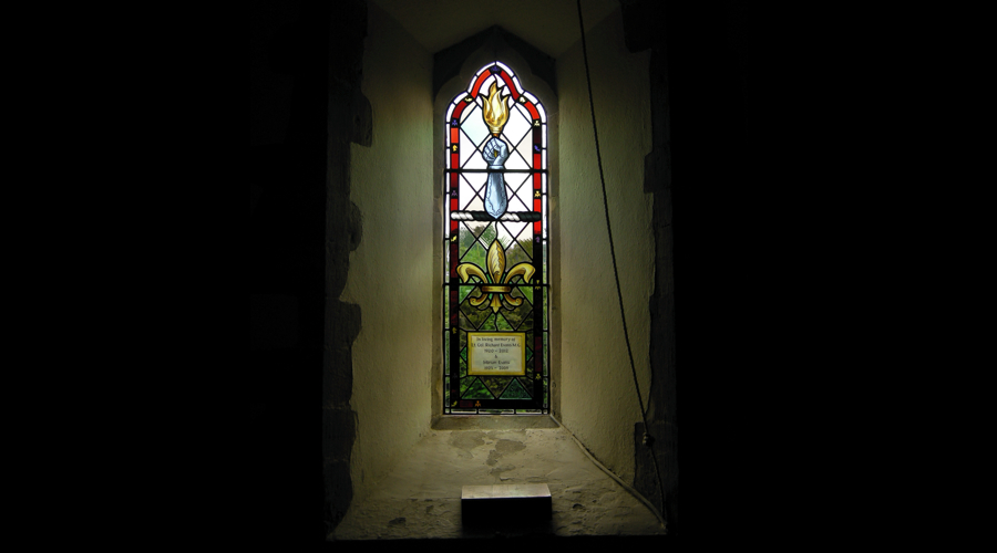 Stained glass memorial window by Williams and Byrne