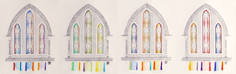 Stained glass designs for chapel